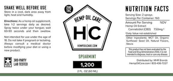 Ingredients Hemp Oil Care Zero THC 1200mg CBD Spearmint Flavor THC free